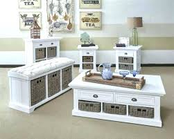 Entryway Table With Baskets Bench With Baskets Underneath Entryway Table Storage Coffee Black
