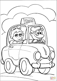 baby miss piggy in a taxi coloring page free printable coloring