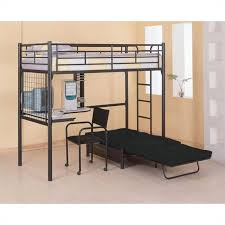 Bunk Bed Computer Desk Coaster Max Futon Metal Bunk Bed With Desk In Black