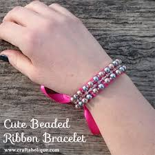 beads bracelet diy images Cute diy beaded ribbon bracelet craftaholique jpg