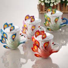 buy peacock coffee cups ceramic enamel mug saucer belt spoon