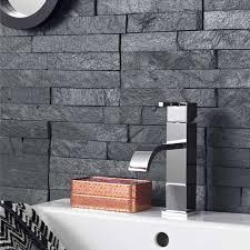 Grey Mosaic Bathroom Split Face Black Mosaic Terranean Tiles