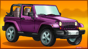 purple jeep learn how to draw a jeep wrangler suvs transportation free step