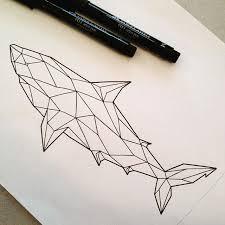 tattoo geometric outline black outline geometric shark tattoo design