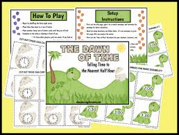 telling time game to the half hour printable worksheet with answer