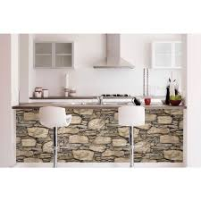 Peal And Stick Wall Paper Nuwallpaper Brown Hadrian Stone Wall Peel And Stick Wallpaper