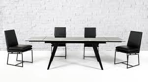 modrest barium contemporary black glass extendable dining table