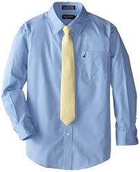 amazon com nautica dress up boys poplin shirt and tie set clothing