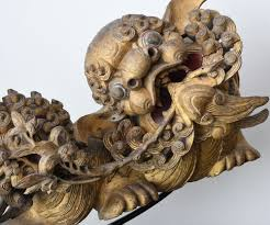 lion foo dog pair of qing dynasty carved and gilded foo dog and lion