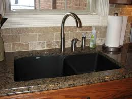 Black Glass Kitchen Sinks Inspiring Black Kitchen Sink With Granite Countertop And Glass