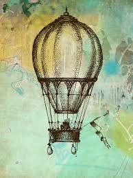 illustration giclee watercolor print painting air balloon