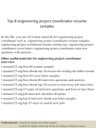 Project Coordinator Resume Samples by Top8engineeringprojectcoordinatorresumesamples 150606093905 Lva1 App6892 Thumbnail 4 Jpg Cb U003d1433583646