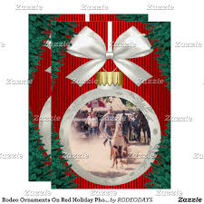 rodeo ornaments on photo card calf roping