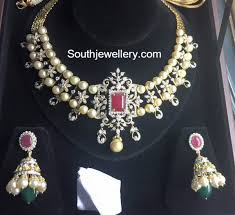 diamond pearl necklace set images Diamond south sea pearl necklace set jewellery designs jpg