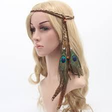 hippie hair accessories hot sale fashion festival feather headband hippie headdress hair