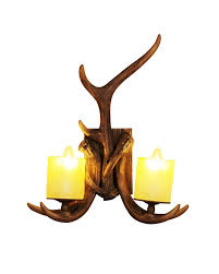 Lighting Wall Sconces 2 Candle Shape Lights Wall Sconce With Faux Resin Antler Body