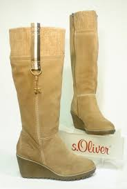 s wedge boots buy 5449 s oliver trend leather boots truffle beige with wedge