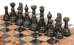 classic marina stone u0026 black marble chess set with 16