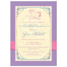 holy communion invitations holy communion photo template invitation yellow pink