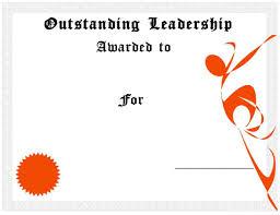 outstanding leadership award certificate template