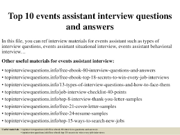 top 10 events assistant interview questions and answers