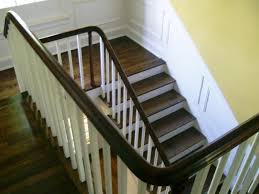stair awesome half landing stair design with mahogany wood treads