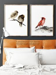 cardinal bird home decor birds painting brown and red art print set of 2 watercolor