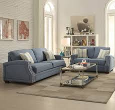 Sofas With Pillows by Betisa 2 Pcs Light Blue Fabric Nailhead Trim Sofa U0026 Loveseat