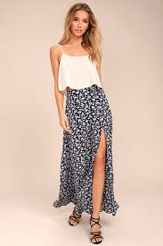 maxi skirt lovely navy blue skirt floral print maxi skirt side slit maxi