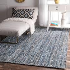 Denim Home Decor by Nuloom Handmade Braided Natural Fiber Jute Denim Blue Rug 7 U00276 X 9