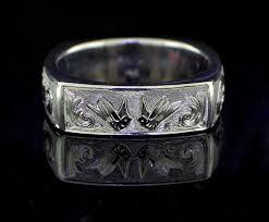 hand engraved mens wedding band flat 14k gold ring