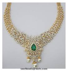 diamond necklace patterns images Pure diamond necklace south india jewels jpg