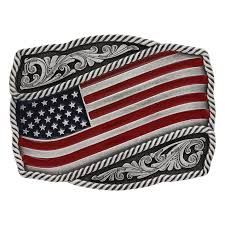 Waving American Flag Classic Painted Waving American Flag Attitude Buckle Montana
