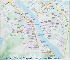 Zhuhai China Map by Map Of Guangdong Doumen Streets Roads Hotels Parks Villages