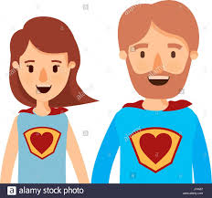 super colorful colorful caricature half body couple parents super hero with heart