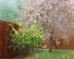 judith m anderson fine arts rambling rose and crab apple tree