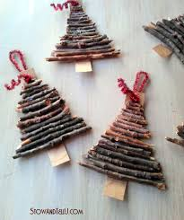 tree ornaments made from twigs and yard clippings
