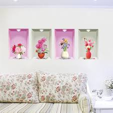 home decor 3d stickers flower vase floral wall stickers bedroom living room decoration 3d