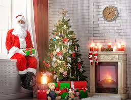 image new year santa claus new year tree gifts fireplace uniform