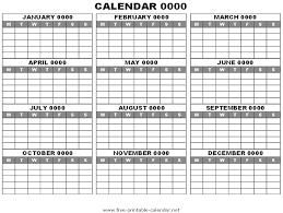 blank year calendar template blank calendar printable