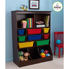 simple kids bedroom with kidkraft espresso wall toy storage unit