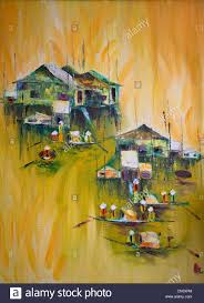 Painting Of House by Painting Of Floating House And Boats Hoi An Vietnam Stock Photo