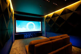 cozy home theater interior design luxury brown theme small basement home theater
