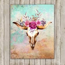 Western Wallpaper Border 8x10 Watercolor Bull Skull Printable Art Skull Poster Boho