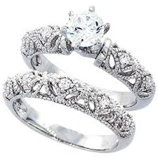 ring sets sterling silver wedding ring set cz engagement