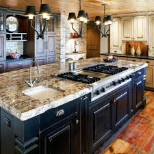 kitchen black lacquered wood kitchen island with beige granite