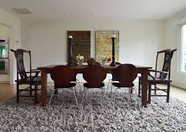 dining room rug ideas chic shag rug in dining room transitional with farm table to
