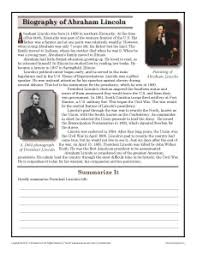 abraham lincoln 7th grade reading comprehension worksheet