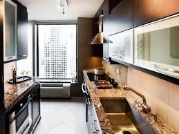 kitchen small galley designs amazing attractive kitchen design trends regtangle brown granite countertops texture grey metal wall mount range hood small galley