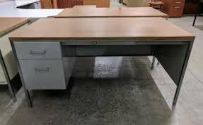 metal desk with laminate top putty metal desk with oak laminate top madison liquidators